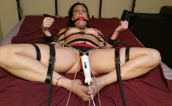 Frogtied Hitachi Orgasms