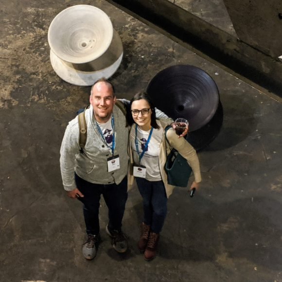 Hans & Donata from Termageddon. This picture was taken from inside the birdcage @ The City Museum in St. Louis at WordCamp 2019. What a great place to meet!