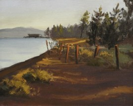 """nevada beach sunrise - tahoe   8"""" x 10"""" oil on canvas board - SOLD private collection"""