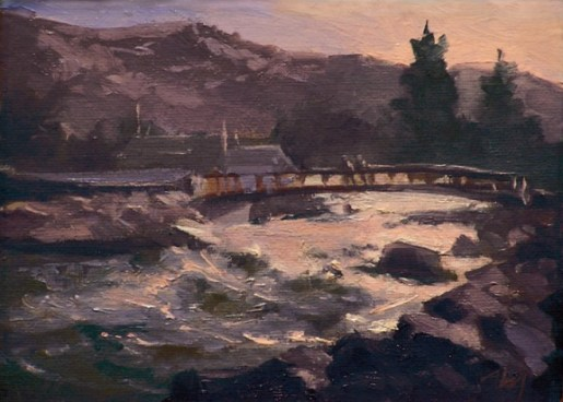 """truckee river at wingfield   6"""" x 8"""" oil on canvas - SOLD private collection"""