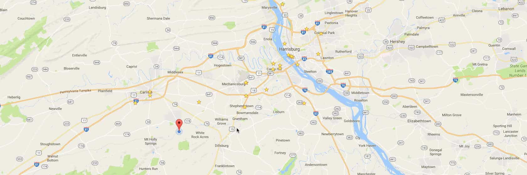 Screenshot of Google Maps showing Central Pennsylvania