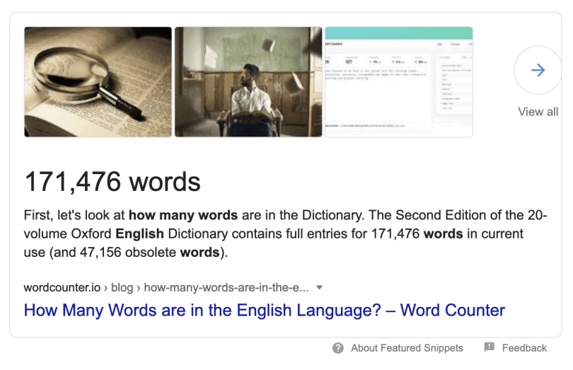 There are 171,476 words in the english language. In voice search, just 25 words account for 20% of the results.