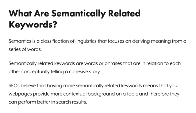 Semantically related keywords in paraphrasing