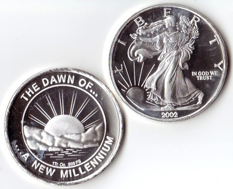 1 OZ .999 Fine Silver Dawn of a New Millennium Round - 2002