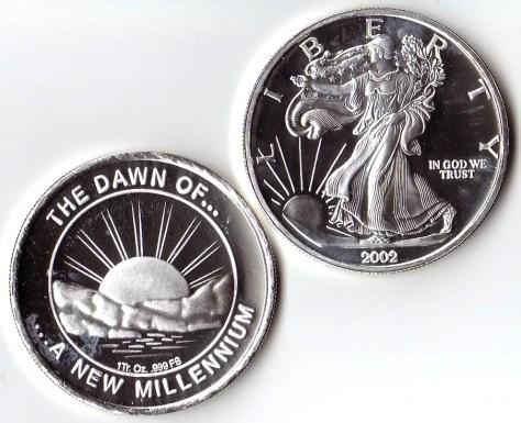 1 OZ .999 Fine Silver Dawn of a New Millennium Round - 2002