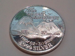 1 OZ .999 Fine Silver Trade Unit – Great NW Edition Eruption - Obverse