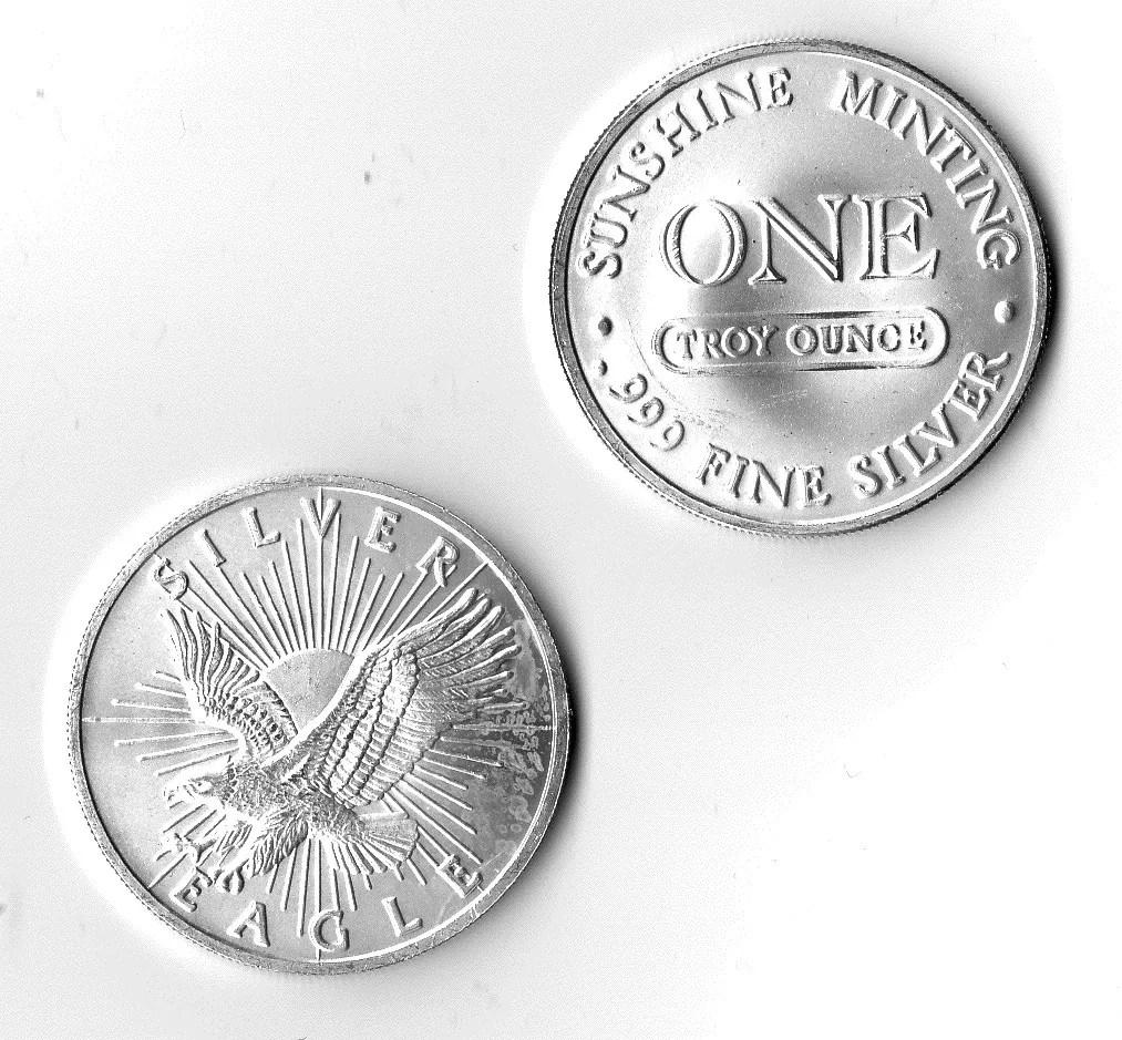 1 Oz 999 Fine Silver Sunshine Mint Silver Eagle Round