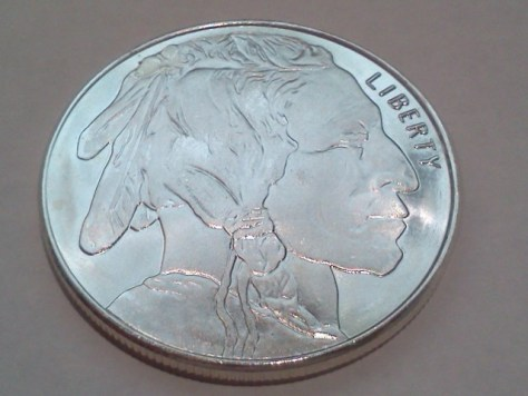 Undated Silver American Indian Head and Buffalo 1 OZ .999 Fine Silver Round