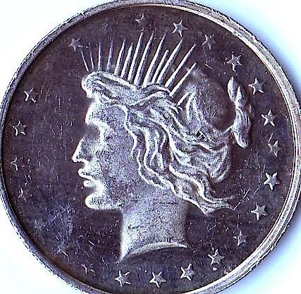 1 Troy Oz 999 Fine Silver Trade Unit Lady Liberty