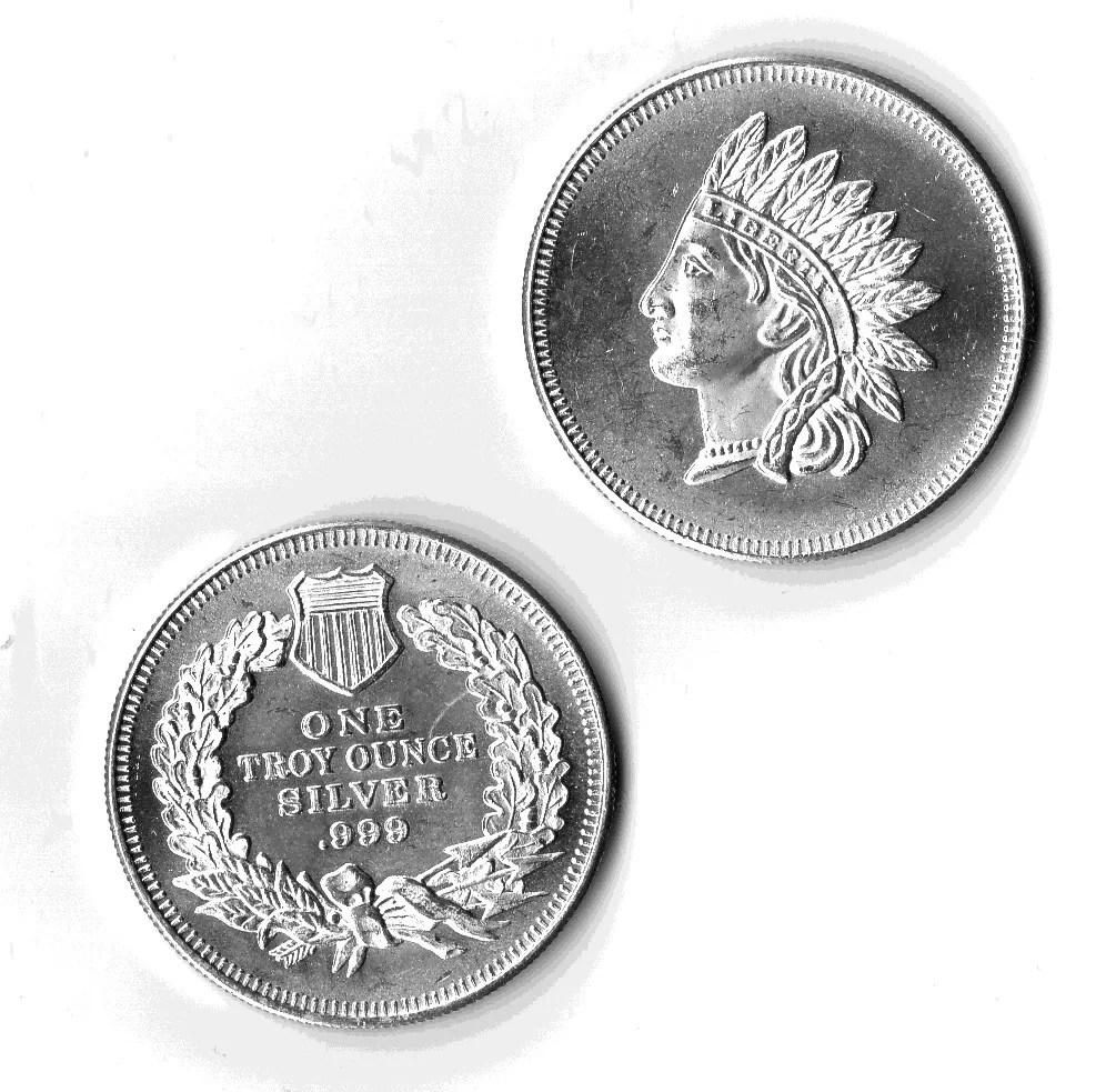 1 Oz Silver Liberty American Indian Head Round The Mint Bar Walking 1oz