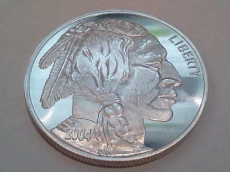 2004 Indian Head And Buffalo Silver Round 1 Oz 999 Fine
