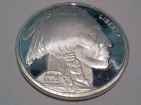 2006 Silver American Indian Head and Buffalo 1 OZ .999 Fine Silver Round