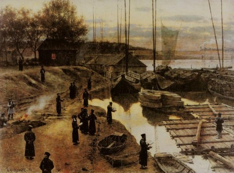 Feast of trumpets by Aleksander Gierymski (1850–1901): Painting of Hasidic Jews performing tashlikh (ritual washing away of sins) on Rosh Hashanah, placed on the banks of the Vistula River in Warsaw.