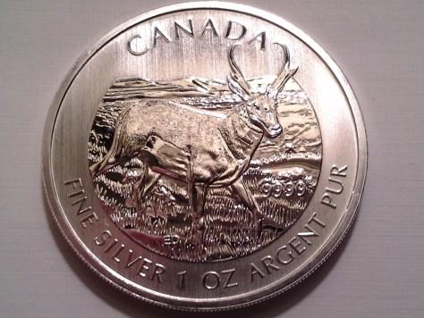 2013 Canadian Silver Pronghorn Antelope 1 oz .9999 Fine Wildlife Series