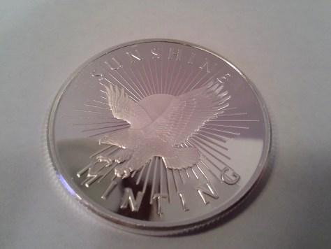 1 OZ .999 Fine Silver Sunshine Mint Silver Eagle Round with MintMark SI