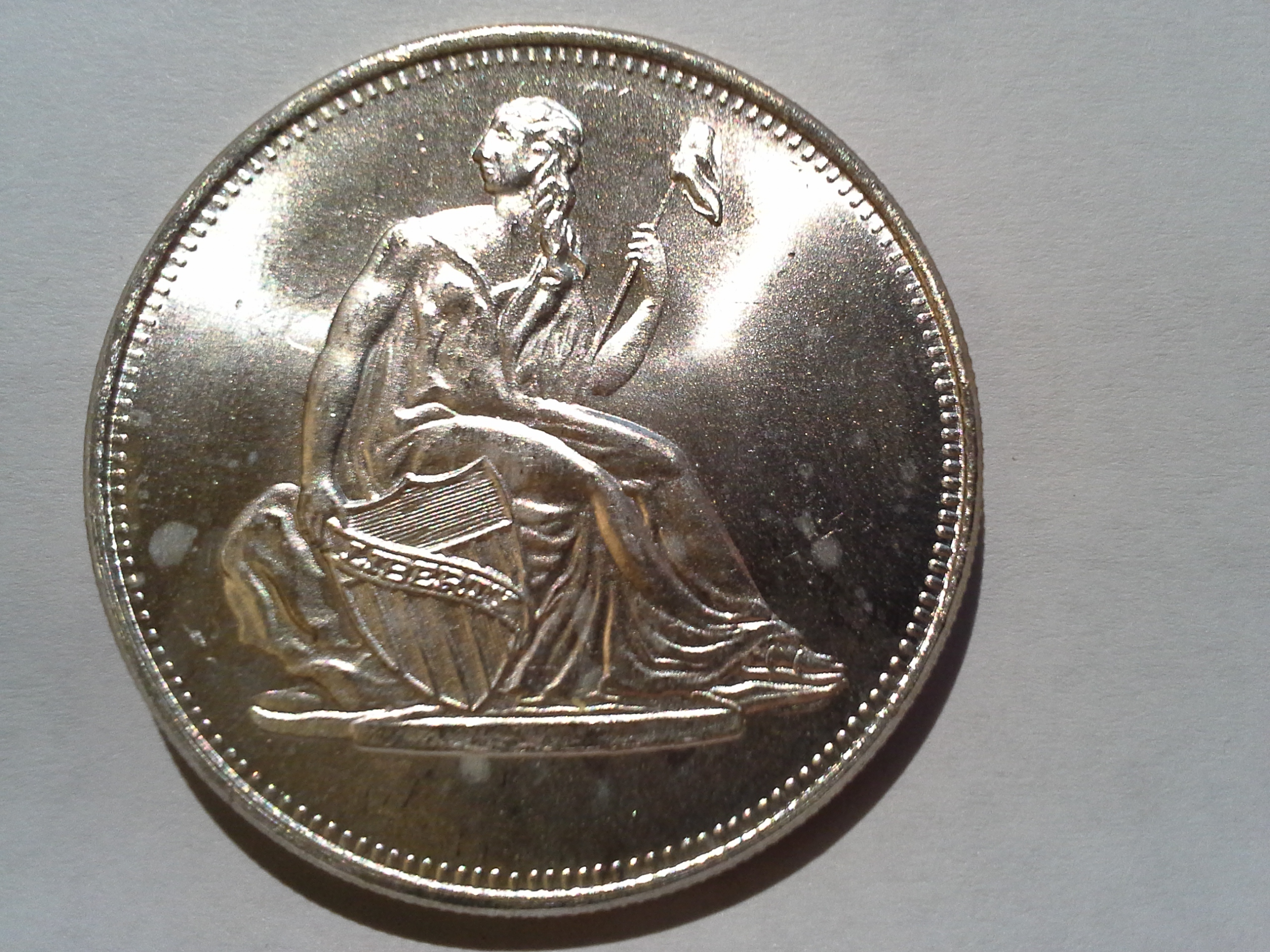 1 Troy Oz 999 Fine Silver Seated Lady Liberty 1800 S Us Dime Design Round The Mint