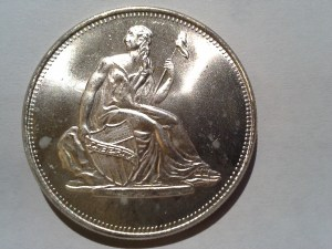 1 Troy OZ .999 Fine Silver Seated Lady Liberty 1800's US dime design Round