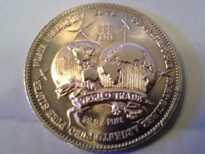 1 OZ .999 Fine Silver Silver World Trade International Trade Unit Round – 1974