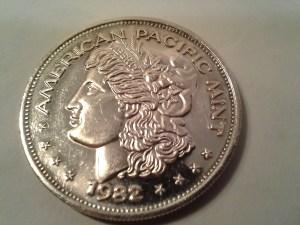 1 OZ .999 Fine Silver American Pacific Mint Silver Trade Unit Round - 1982