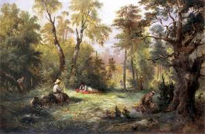 "Mushroom picking; illustration to III tome ""Pan Tadeusz"" circa 1860 by Franciszek Kostrzewski"
