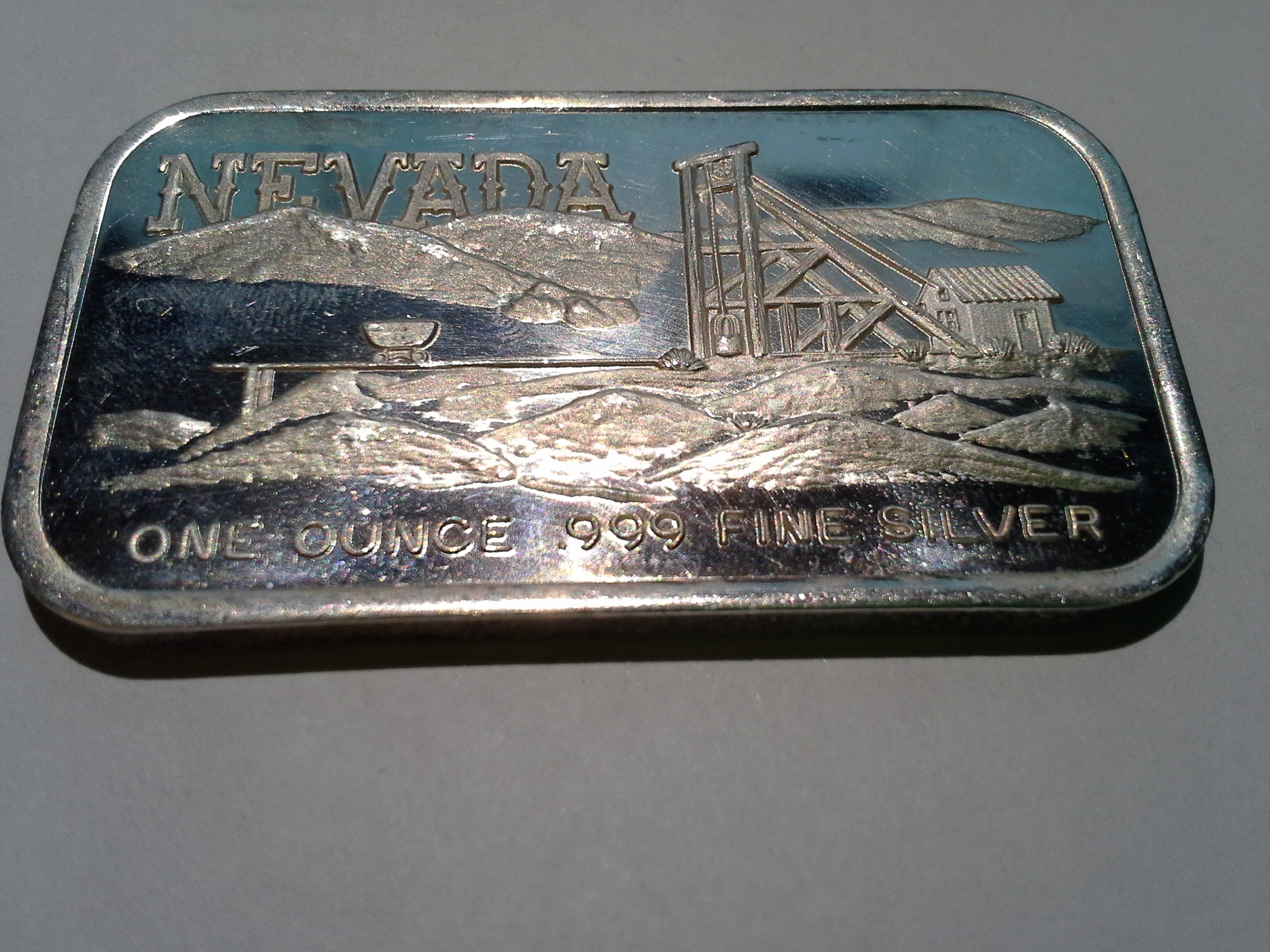 1 Oz 999 Fine Silvertowne Nevada Mine Panorama Silver Bar