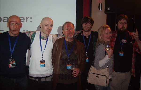 David Moody, Wayne Simmons, Kevin J Anderson, Rob from SFX, Sarah Pinborough and Al Ewing at the SFX Weekender 2011