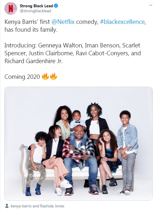 tweet launching Kenya Barris show Black Excellence showing cast of show with no dark-skinned black faces