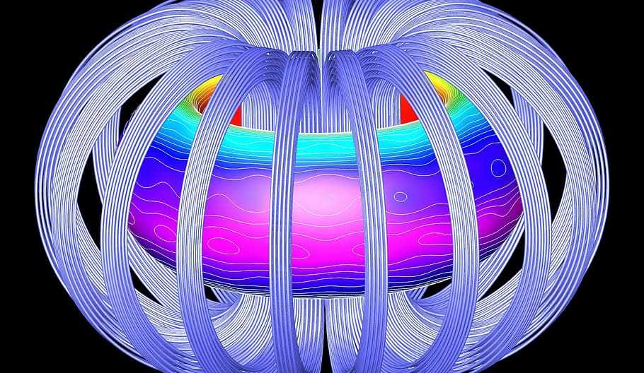multicoloured graphic showing donot of fusion energy surrounded by fields which do not touch it