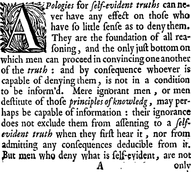 image of a text on self evident truth. Although not about madness, the quote, rather confusingly, alludes to the effect of denying our freedom to establish a sense of self-evident truth.