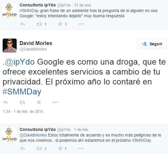 Google es como una droga, que te ofrece excelentes servicios a cambio de tu privacidad.