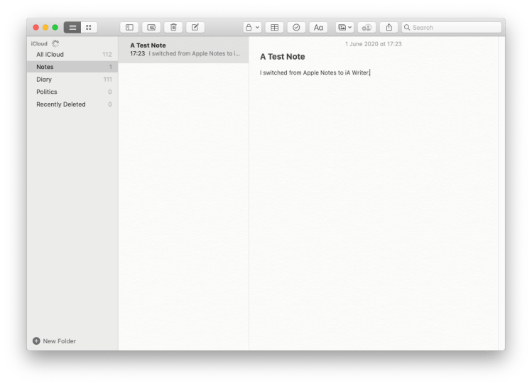 Apple Notes on macOS