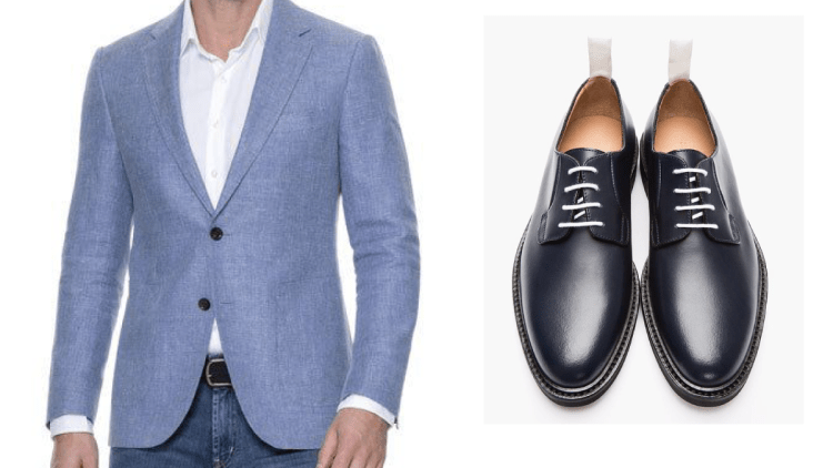 Zapatos azules agujetas blancas