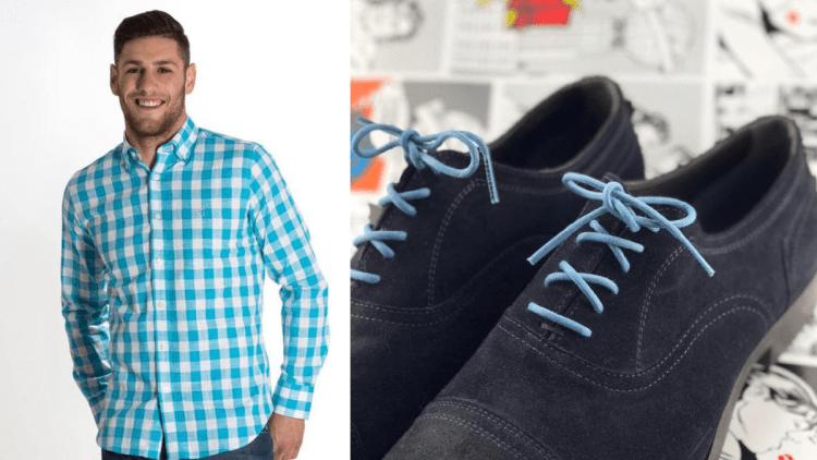 Zapatos gamuza azul marino agujetas azul cielo