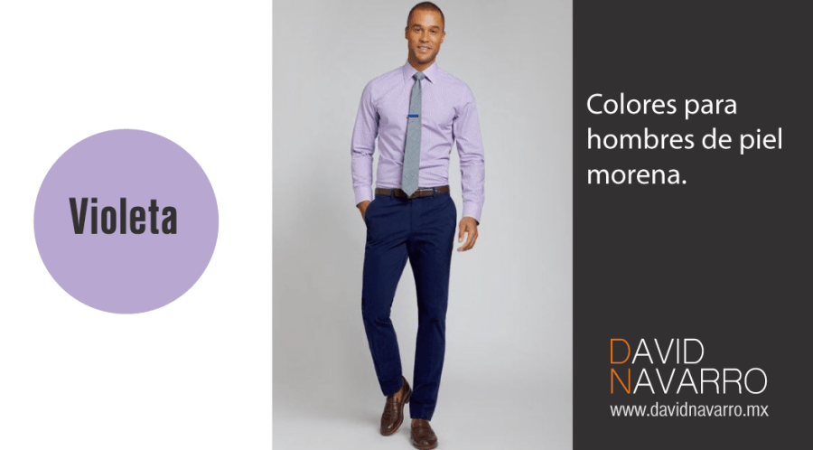 Color violeta hombres piel morena