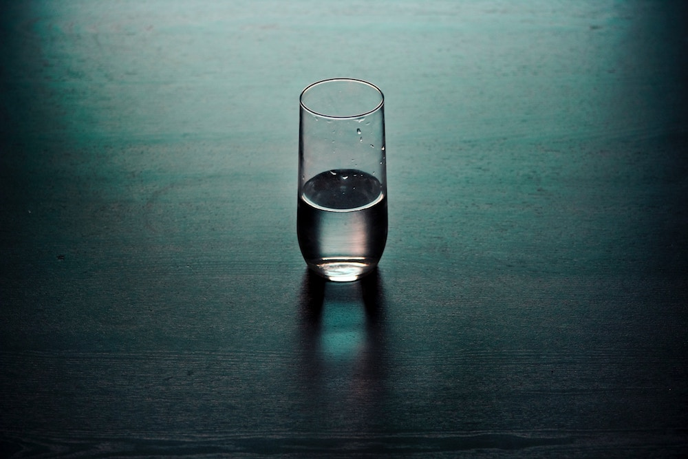 still glass of water, mindfulness