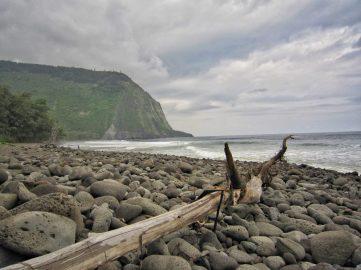 A rocky beach at Waipio Bay