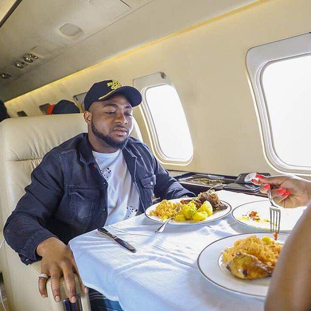 Davido Eating Food In private Jet