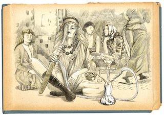 Smoking Hookah (Harem) - An hand drawn full sized illustration