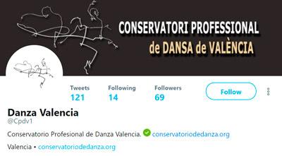 Cuenta de Twitter del conservatorio profesional de danza de Valencia
