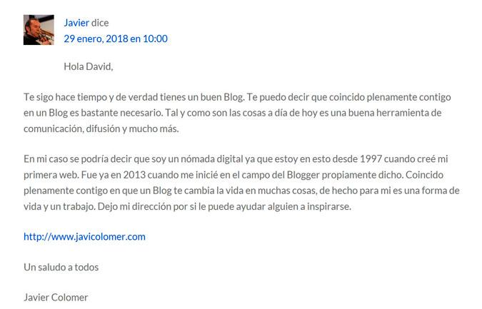 Comentario Javi Colomer en davidperalta.es