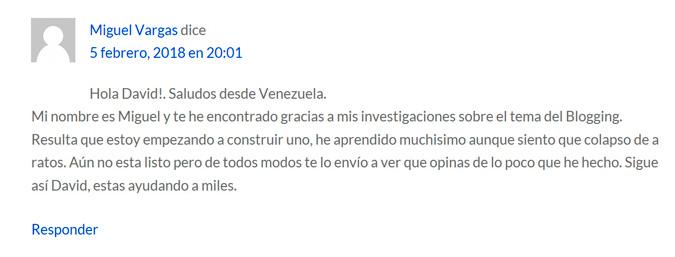 Comentario Miguel Vargas