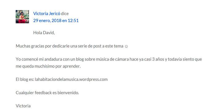 Comentario Victoria Jericó en davidperalta.es