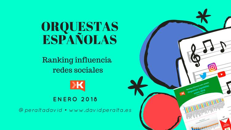 Grandes orquestas españolas en redes sociales. Influencia enero 2018