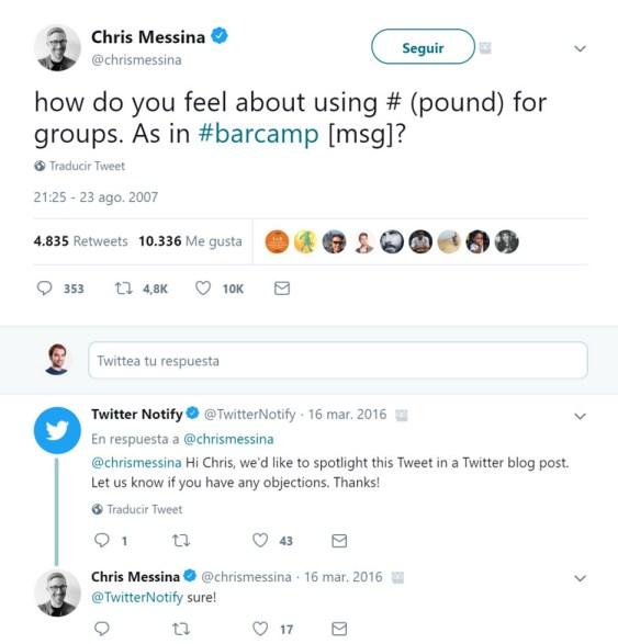 Primer hashtag en Twitter