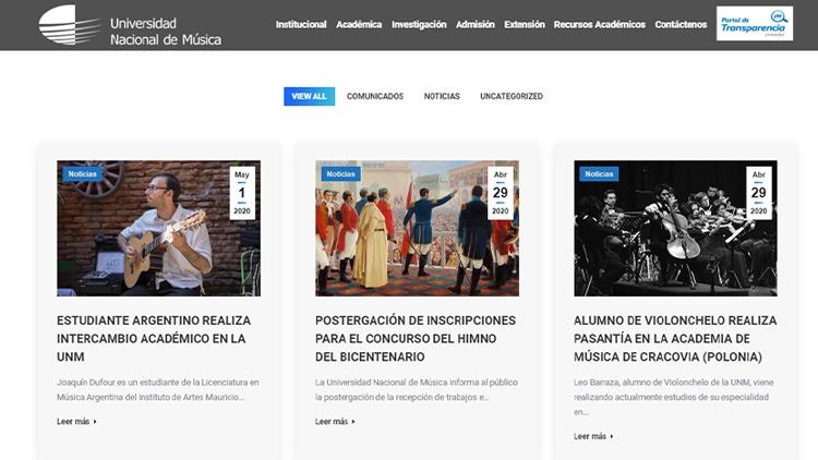 Blog de la Universidad de música en Lima (Perú).
