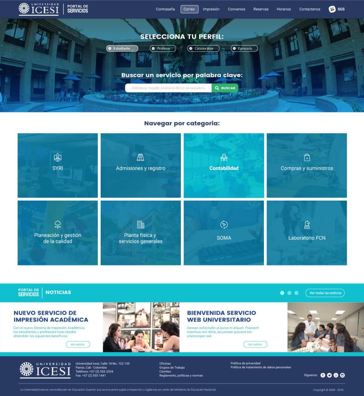 Portal Servicios Icesi - Universidad Icesi