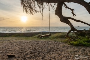 Sunset, swing, Beach, Tranquil, Calm
