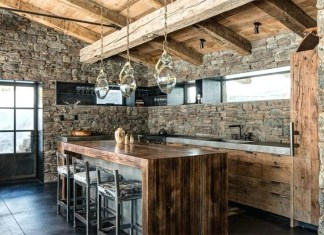 natural-stone-wall-wood-accent -simple-luxury-kitchen-style
