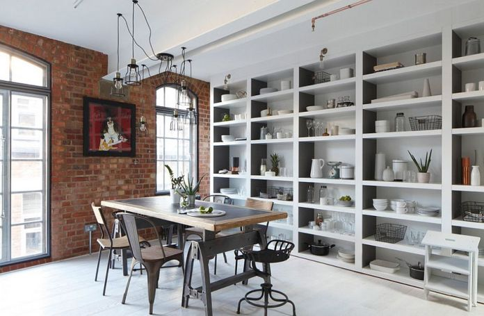 white industrial dinning table