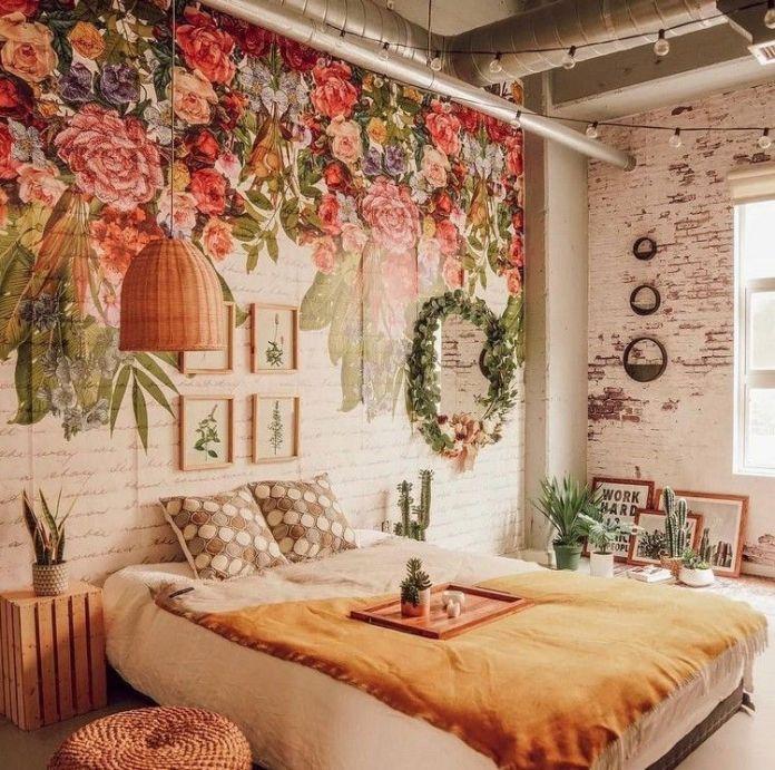 Bohemian Bedroom With Beautiful Wallpaper